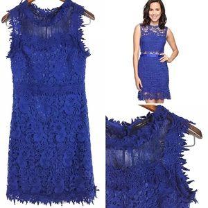 Romeo&Juliet Couture Blue Crochet High Neck Dress